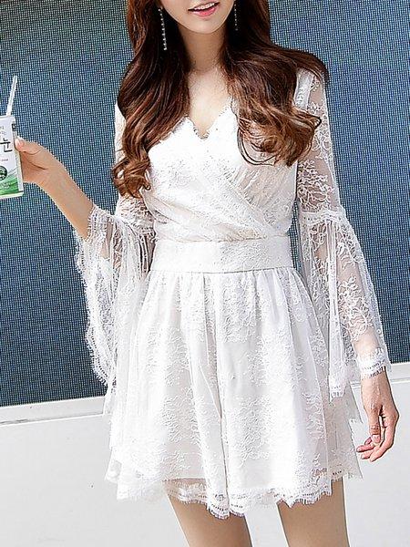 White Surplice Neck Elegant Guipure Lace Rompers