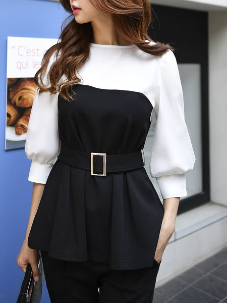 Color-block Bateau/boat Neck Balloon Sleeve Elegant Top