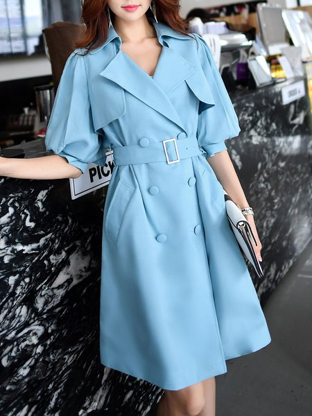 Blue Solid Lapel Elegant Polyester Trench Coat