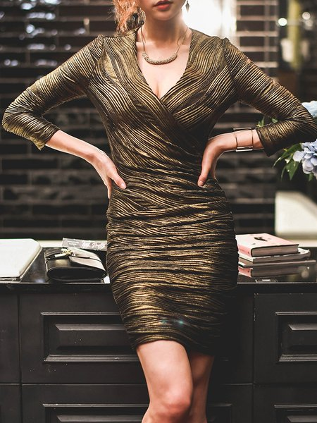 Gold Brown Ruched Bodycon Elegant Mini Dress