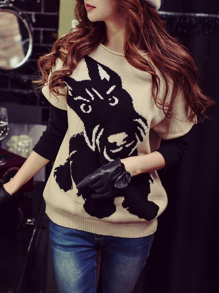 Beige Batwing Animal Knitted H-line Sweater