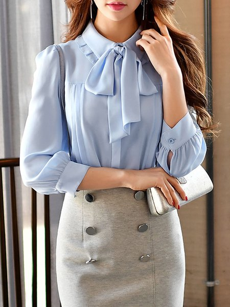 Sky Blue Bow Shirt Collar Girly Blouse