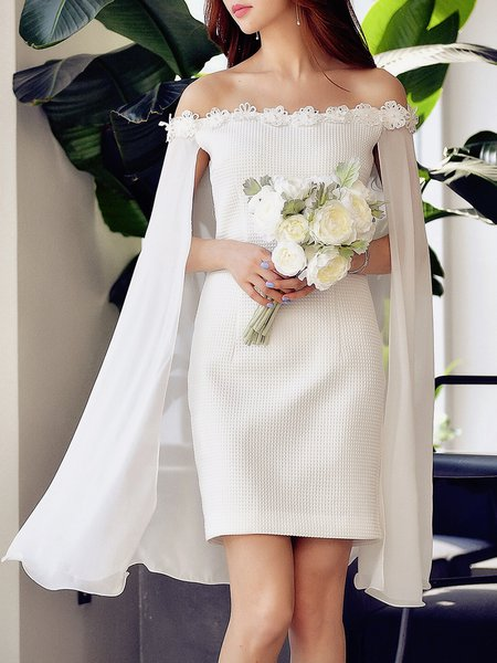 White Off Shoulder Elegant Sheath Party Dress