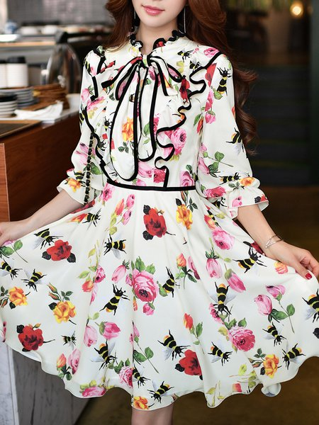 Ruffled Girly Bow Balloon Sleeve A-line Floral Midi Dress