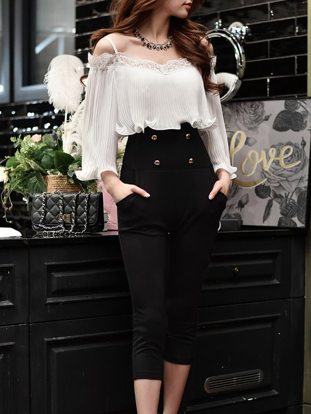 Black Elegant Cold Shoulder Ruffled Buttoned Jumpsuit