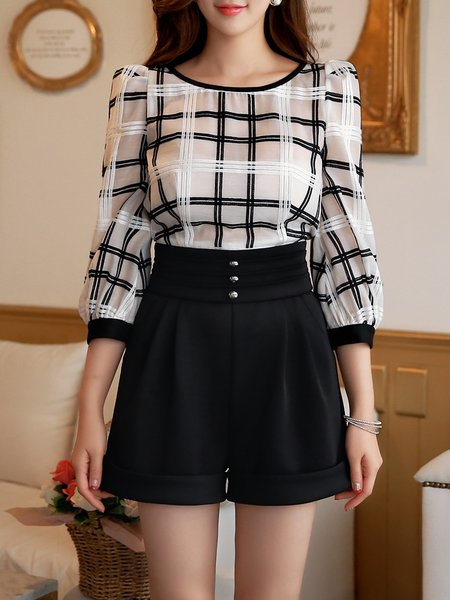 3/4 Sleeve Casual Checkered/Plaid Paneled Romper