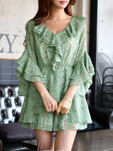 Frill Sleeve V Neck Floral Ruffled Girly Romper