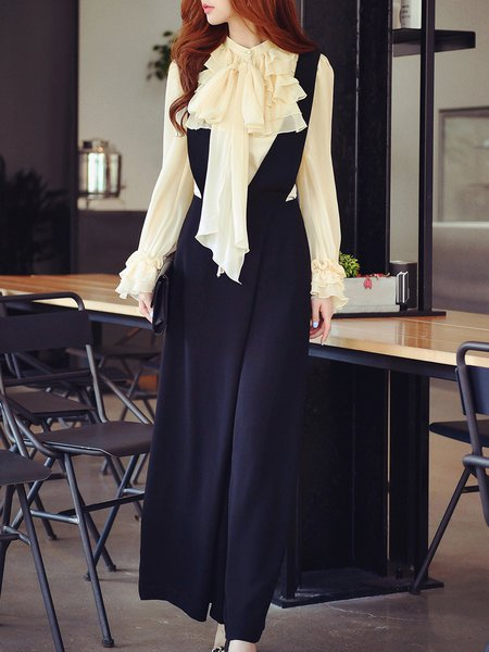 Black Stand Collar Frill Sleeve Ruffled Two Piece Jumpsuit