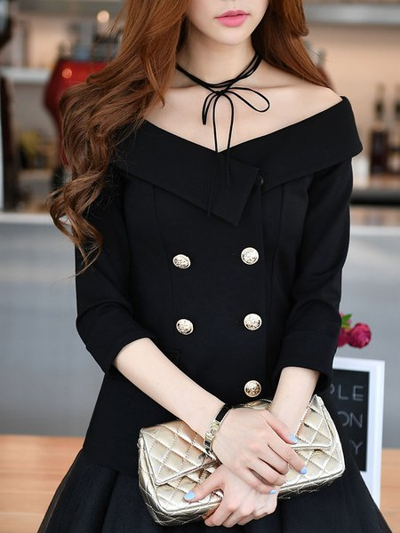 Black 3/4 Sleeve Slash Neck Buttoned Coat