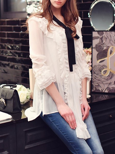 Ruffled Stand Collar Frill Sleeve Bow Girly Blouse