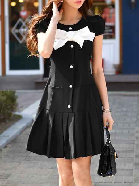 Black Flounce Short Sleeve Mini Dress