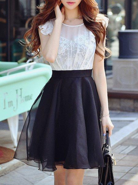 Black-white Skater Paneled Girly Midi Dress
