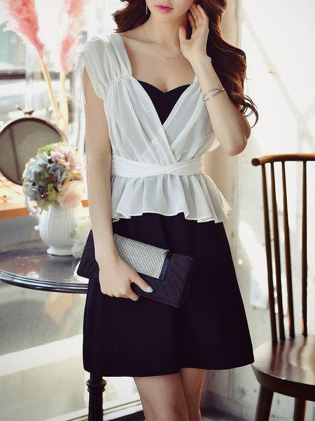Black-white  A-line Sleeveless Paneled Mini Dress