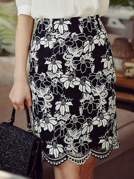 Black-white Bodycon Casual Guipure Midi Skirt