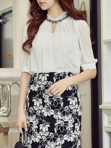 Balloon Sleeve Casual H-line Stand Collar Blouse