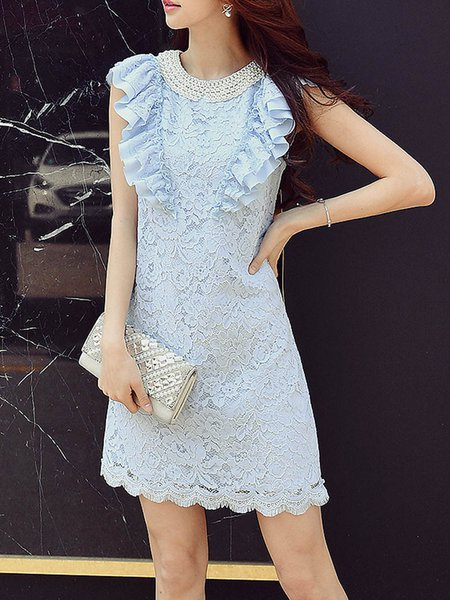 Aqua Blue Guipure Frill Sleeve Mini Dress with Synthetic Pearl Beaded
