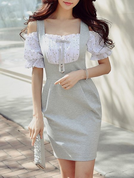 Light Gray Cold Shoulder Half Sleeve Girly Mini Dress