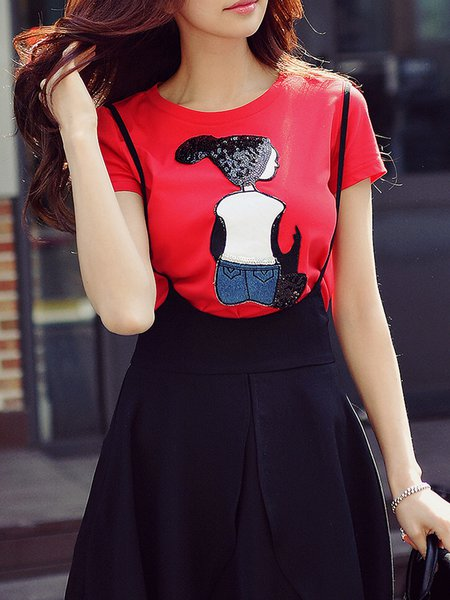 Red Appliqued Crew Neck Casual T-Shirt
