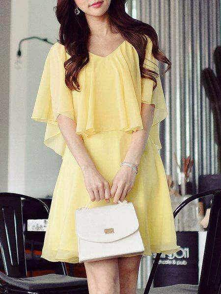 Yellow  Casual Midi Dress