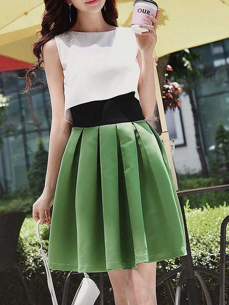 Green Color-block Sleeveless A-line Midi Dress