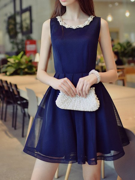 Navy Blue Girly Pierced Solid Crew Neck Midi Dress