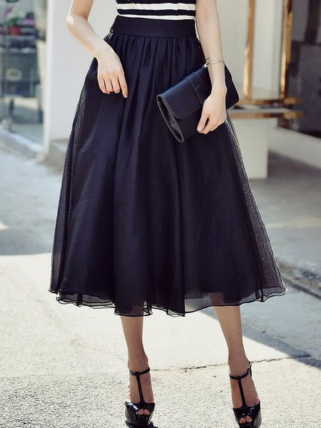 Black Solid Casual Midi Skirt