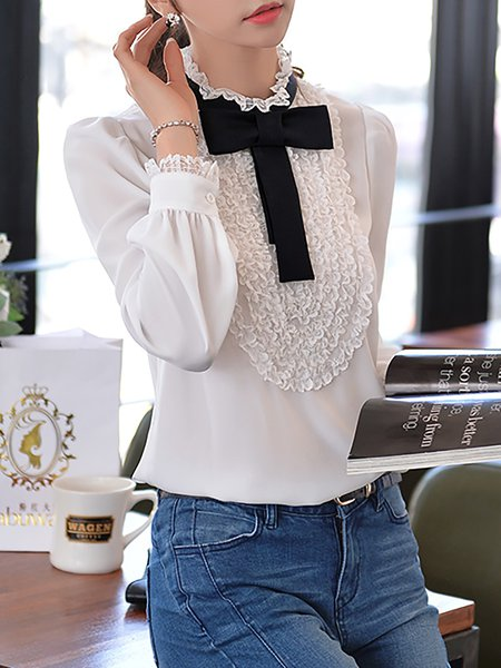 White Stand Collar Sweet Blouse