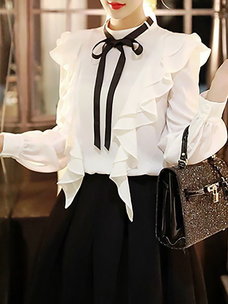 White Crew Neck Long Sleeve Ruffled Plain Blouse