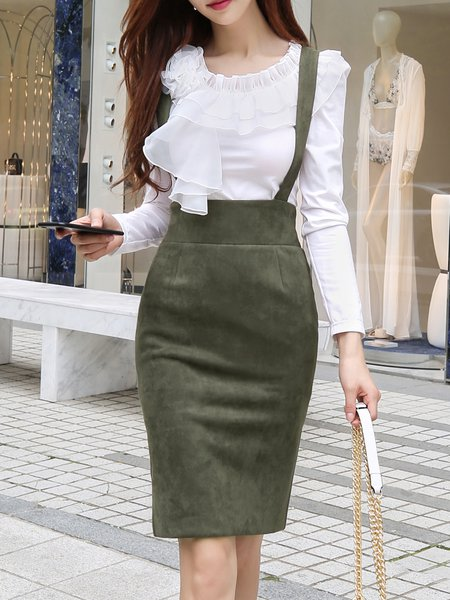 Army Green Elegant Slit Bodycon Solid Midi Skirt