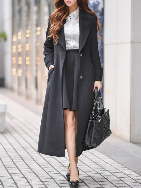 Black Solid Lapel Elegant A-line Coat With Belt