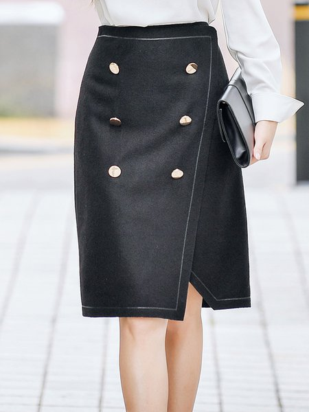 Gray Elegant Buttoned Pencil Skirt