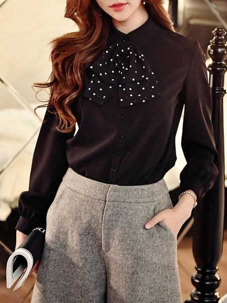 White Bow Long Sleeve Polka Dots Blouse