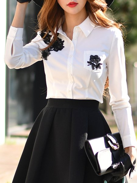 Long Sleeve Shirt Collar Girly Crocheted Blouse