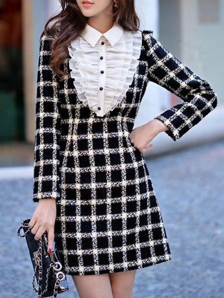 Black A-line Work Mini Dress