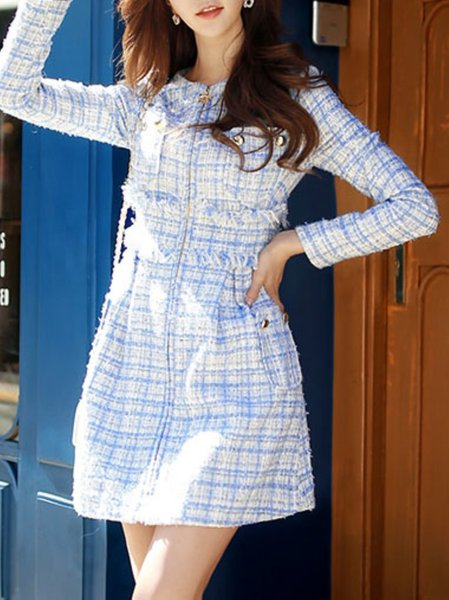 Blue Long Sleeve Checkered/Plaid Polyester Mini Dress