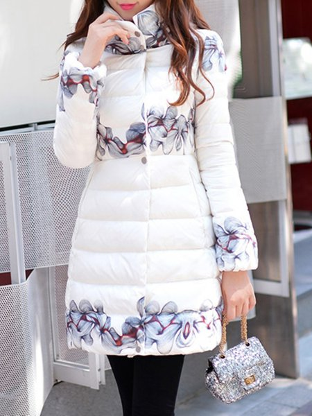 White Floral Pockets Turtleneck Long Sleeve Down Coat