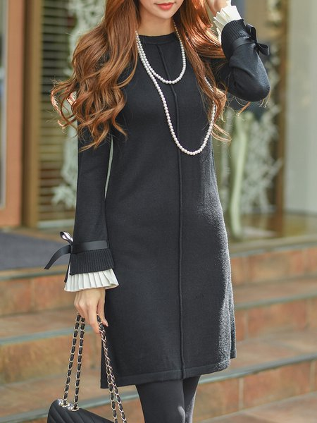 Black Knitted Plain Bow Casual Mini Dress