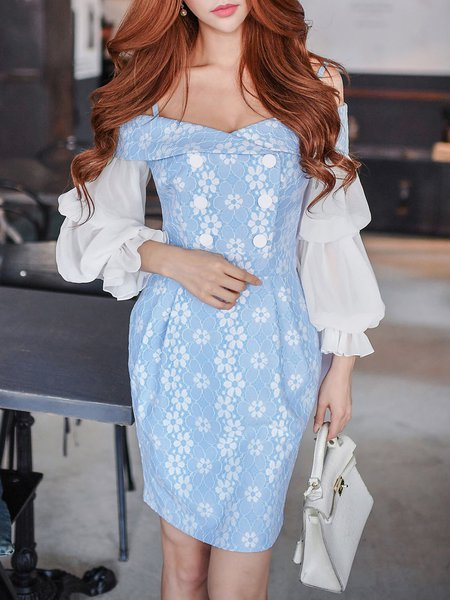 Sky Blue Cold Shoulder Guipure Lace Girly Mini Dress