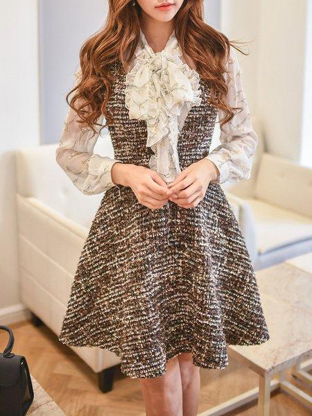 Ruffled Girly Woven Long Sleeve Two Piece Mini Dress