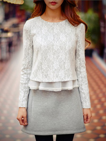 Light Gray Ruffled Lace Long Sleeved Top