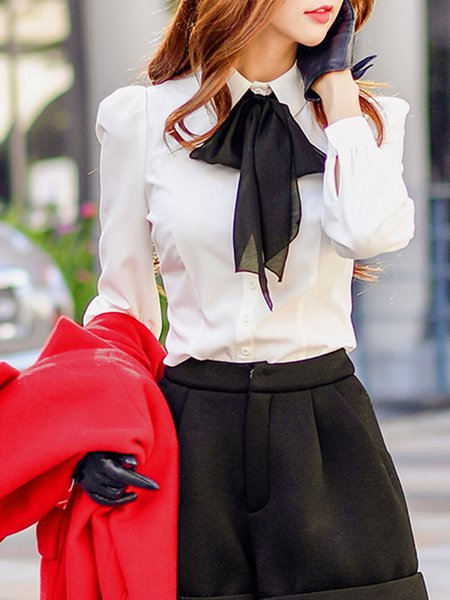 White Shirt Collar Long Sleeve Gathered Bow Blouse