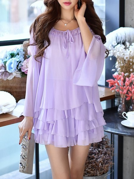 Purple Chiffon Frill Sleeve Two Piece Ruffled Romper