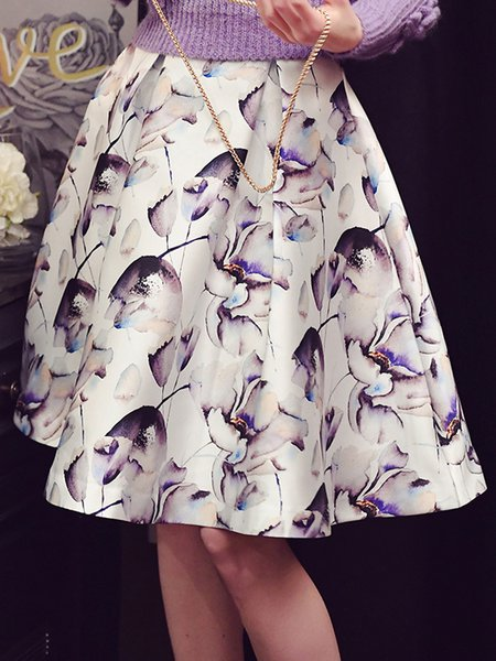 White Floral Girly A-line Midi Skirt