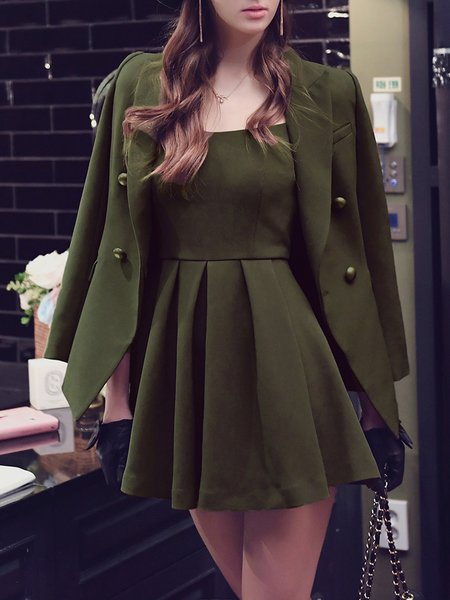 Army Green Two Piece Folds Lapel Casual Mini Dress