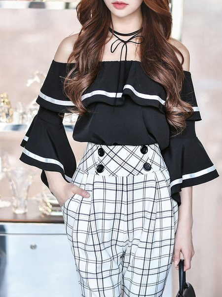 Black Off Shoulder Girly Ruffled Blouse