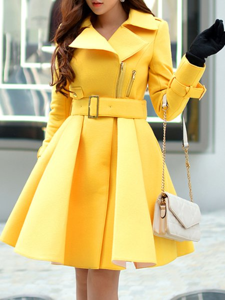 Yellow Zipper V Neck Wool Blend Long Sleeve Trench Coat