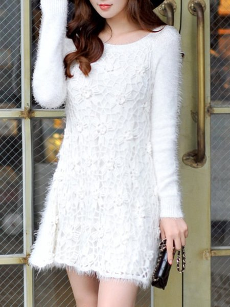 White Polyester Long Sleeve A-line Sweater Dress