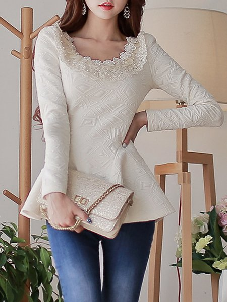 Beige Sheath Girly Jacquard Beaded Long Sleeved Top