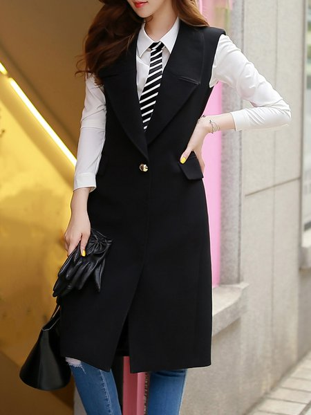 Lapel Sleeveless Plain Formal Vests And Gilet