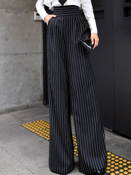 Black Stripes Pockets Elegant Wide Leg Pants